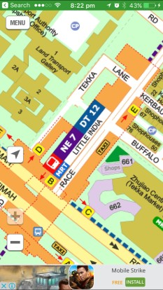 Streetmaps.com image of little india. Yellow letters indicate where exits pop out on the map.